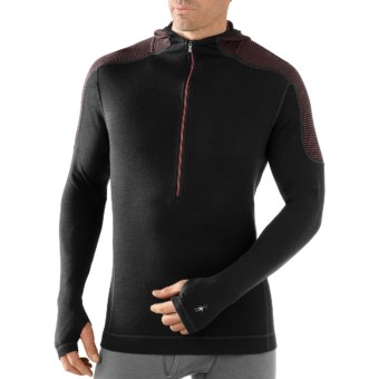 SmartWool NTS Midweight Base Layer Hoodie Sweatshirt - Merino Wool, Zip Neck (For Men) in Black