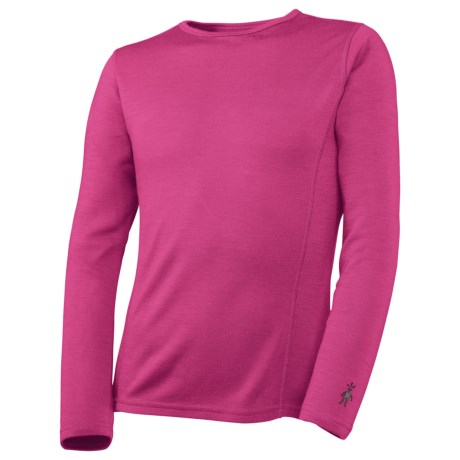 SmartWool NTS Midweight Base Layer Top - Merino Wool, Crew Neck, Long Sleeve (For Kids) in Peony
