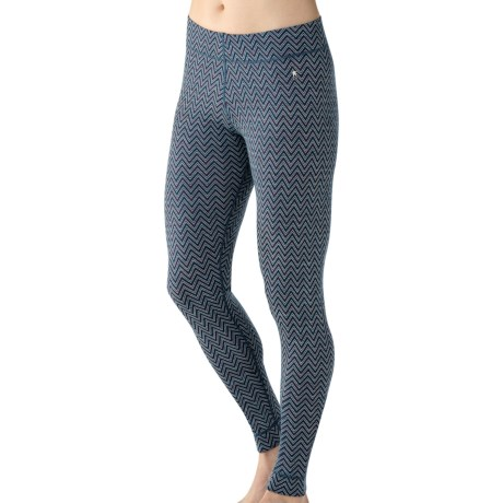 SmartWool NTS Midweight Pattern Base Layer Bottoms - Merino Wool (For Women) in Deep Sea Heather