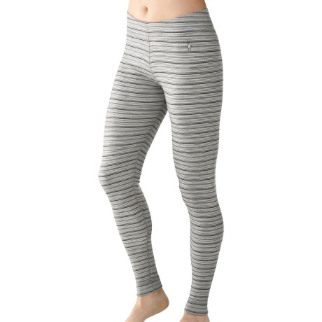 SmartWool NTS Midweight Pattern Base Layer Bottoms - Merino Wool (For Women) in Silver/Charcoal