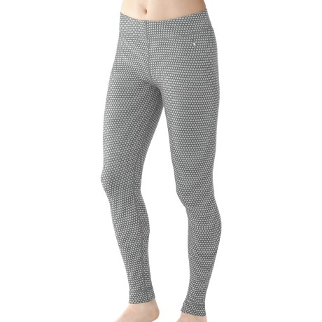 SmartWool NTS Midweight Pattern Base Layer Bottoms - Merino Wool (For Women) in Silver Grey Heather Dots