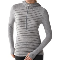 SmartWool NTS Midweight Pattern Base Layer Hoodie Shirt - Merino Wool, Zip Neck (For Women) in Silver Grey Heather