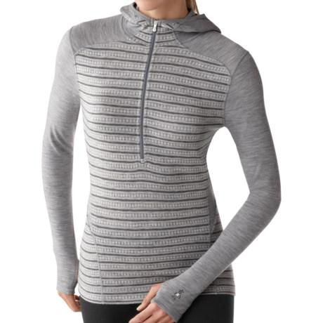 SmartWool NTS Midweight Pattern Base Layer Hoodie Shirt - Merino Wool, Zip Neck (For Women) in Silver Grey Heather