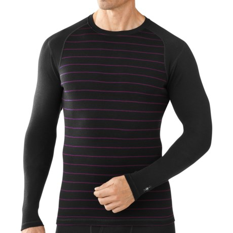 SmartWool NTS Midweight Pattern Base Layer Top - Merino Wool, Crew Neck, Long Sleeve (For Men) in Black/Aubergine