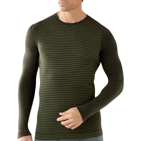 SmartWool NTS Midweight Pattern Base Layer Top - Merino Wool, Crew Neck, Long Sleeve (For Men) in Olive Heather