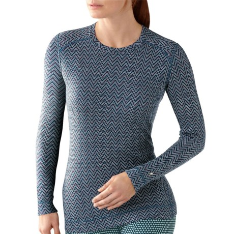 SmartWool NTS Midweight Pattern Base Layer Top - Merino Wool, Crew Neck, Long Sleeve (For Women) in Deep Sea Heather