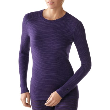 SmartWool NTS Midweight Pattern Base Layer Top - Merino Wool, Crew Neck, Long Sleeve (For Women) in Wine Heather