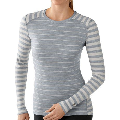 SmartWool NTS Midweight Pattern Base Layer Top - Merino Wool, Crew Neck, Long Sleeve (For Women) in Silver Gray Heather/Natural