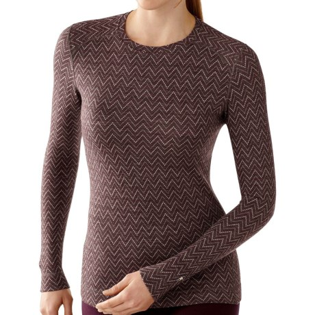 SmartWool NTS Midweight Pattern Base Layer Top Merino Wool Crew Neck Long Sleeve For Women