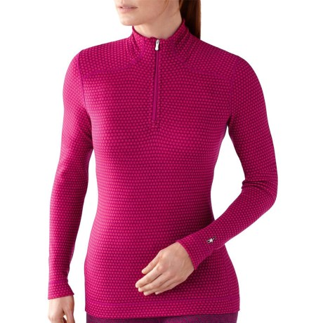 SmartWool NTS Midweight Pattern Base Layer Top - Merino Wool, Zip Neck, Long Sleeve (For Women) in Berry Heather