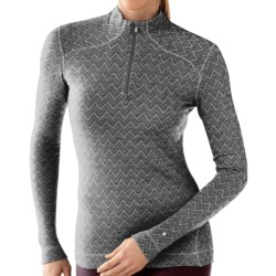 SmartWool NTS Midweight Pattern Base Layer Top - Merino Wool, Zip Neck, Long Sleeve (For Women) in Black