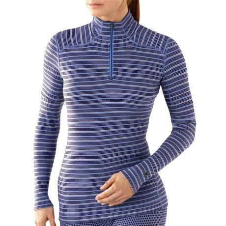 SmartWool NTS Midweight Pattern Base Layer Top - Merino Wool, Zip Neck, Long Sleeve (For Women) in Polar Purple