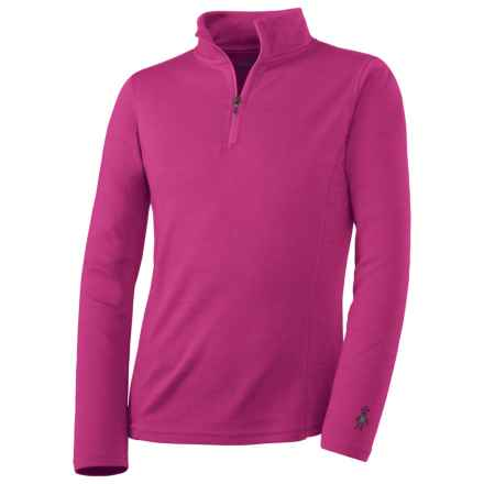 SmartWool NTS Midweight Zip Base Layer Top - Merino Wool, Zip Neck, Long Sleeve (For Kids) in Peony - Closeouts