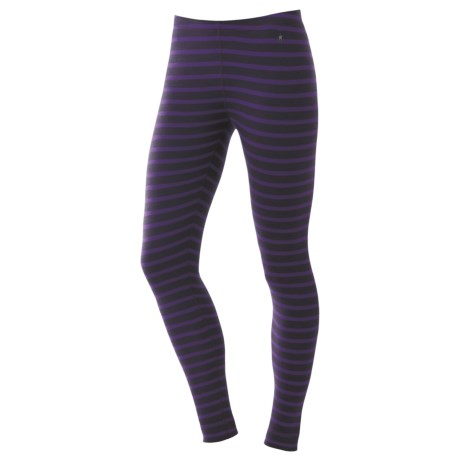 SmartWool NTS Pattern Base Layer Bottoms - Merino Wool, Midweight (For Women) in Deep Purple Stripe