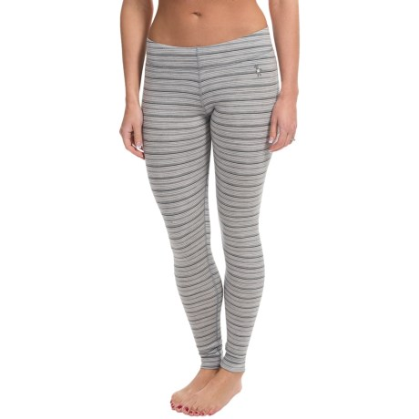 SmartWool NTS Pattern Base Layer Bottoms - Merino Wool, Midweight (For Women) in Silver/Charcoal