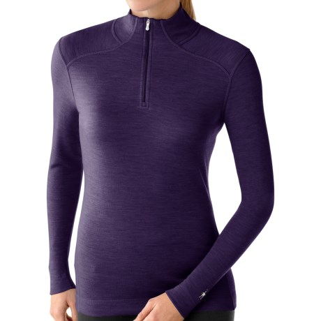 Smartwool NTS Zip Turtleneck Base Layer Top - Merino Wool, Midweight, Long Sleeve (For Women) in Imperial Purple Heather