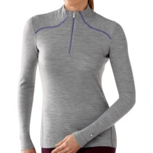 Smartwool NTS Zip Turtleneck Base Layer Top - Merino Wool, Midweight, Long Sleeve (For Women) in Silver Gray Heather - Closeouts