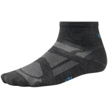 SmartWool Outdoor Sport Ultralight Mini Socks - Merino Wool, Quarter Crew  (For Men and Women) in Black/Arctic Blue - 2nds