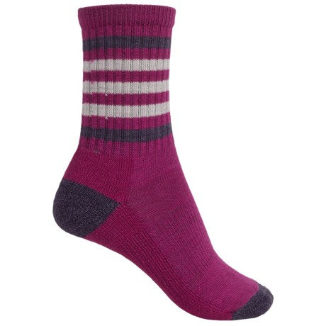 SmartWool Outdoor Striped Socks - Merino Wool, Crew (For Women) in Berry/Desert Purple