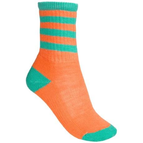 SmartWool Outdoor Striped Socks - Merino Wool, Crew (For Women) in Nectarine/Sprearmint