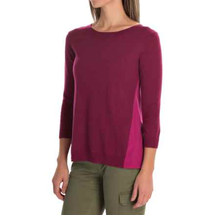 SmartWool Palisade Trail Sweater - Merino Wool, 3/4 Sleeve (For Women) in Berry Heather - Closeouts
