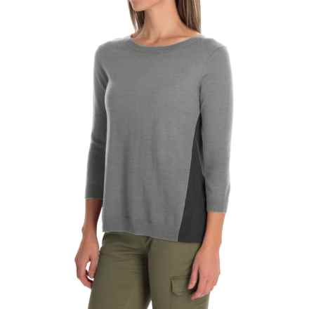 SmartWool Palisade Trail Sweater - Merino Wool, 3/4 Sleeve (For Women) in Silver Gray Heather - Closeouts