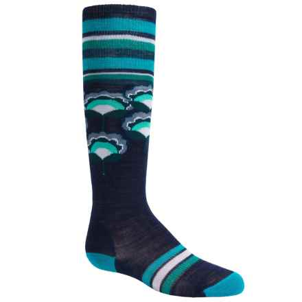SmartWool Peony Pop Knee-High Socks - Merino Wool, Over the Calf (For Little and Big Girls) in Ink Heather - Closeouts