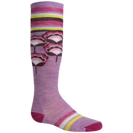 SmartWool Peony Pop Knee-High Socks - Merino Wool, Over the Calf (For Little and Big Girls) in Lilac Heather - Closeouts