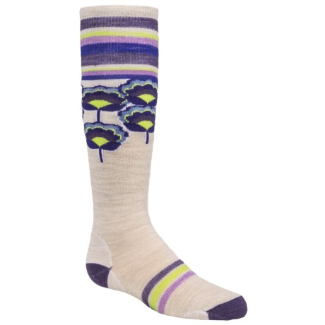 SmartWool Peony Pop Knee-High Socks - Merino Wool, Over the Calf (For Little and Big Girls) in Natural Heather