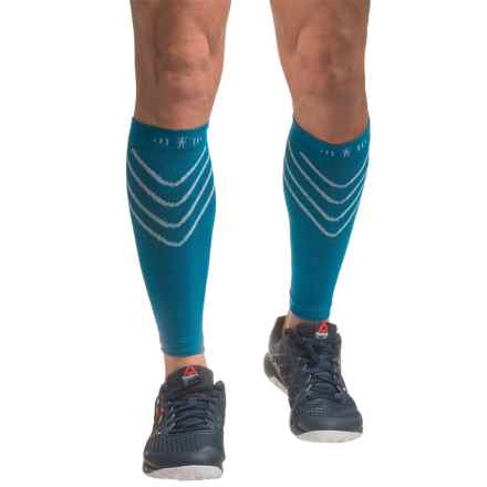 SmartWool PhD Compression Calf Sleeves (For Men and Women) in Arctic Blue - 2nds