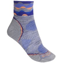 SmartWool PhD Cycle Mini Socks - Merino Wool, Lightweight (For Women) in Light Grey/Nectarine - 2nds