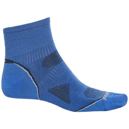 SmartWool PhD Cycle Mini Socks - Merino Wool, Quarter Crew (For Men and Women) in Bright Blue - Closeouts