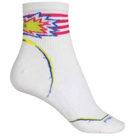 SmartWool PhD Cycle Pattern Socks - Merino Wool, Quarter Crew (For Women) in White - 2nds