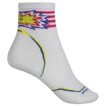 SmartWool PhD Cycle Ultralight Pattern Socks - Merino Wool, Ankle (Women) in White - Closeouts