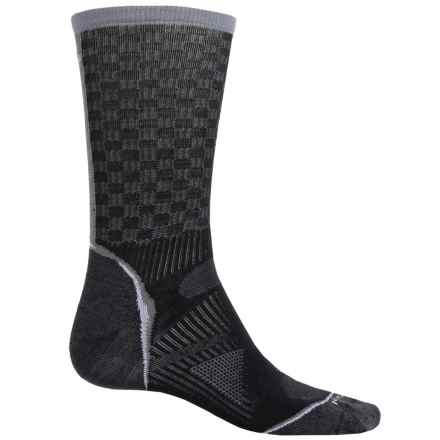 SmartWool PhD Cycle Ultralight Pattern Socks - Merino Wool, Crew (For Men and Women) in Black/Graphite - Closeouts