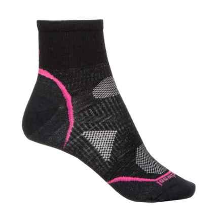 SmartWool PhD Cycle Ultralight Socks - Merino Wool, Quarter Crew (For Women) in Black/Punch - Closeouts