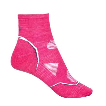 SmartWool PhD Cycle Ultralight Socks - Merino Wool, Quarter Crew (For Women) in Bright Pink - Closeouts