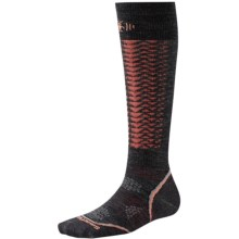 SmartWool PhD Downhill Racer Ski Socks - Merino Wool, (For Men and Women) in Charcoal - Closeouts