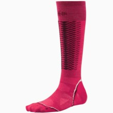 SmartWool PhD Downhill Racer Socks - Merino Wool, Over-the-Calf (For Men and Women) in Persian Red - 2nds