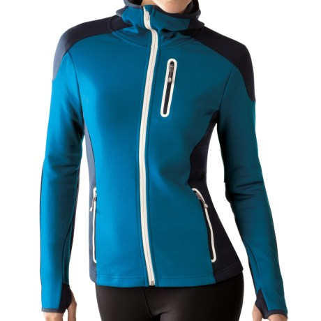 SmartWool PhD HyFi Hoodie Sweatshirt - Merino Wool, Full Zip (For Women) in Arctic Blue