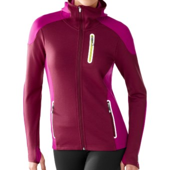 SmartWool PhD HyFi Hoodie Sweatshirt - Merino Wool, Full Zip (For Women) in Wine