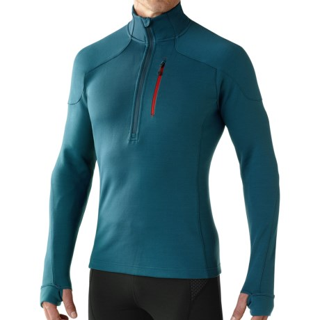 SmartWool PhD HyFi Midlayer Top - Merino Wool, Zip Neck, Long Sleeve (For Men) in Deep Sea
