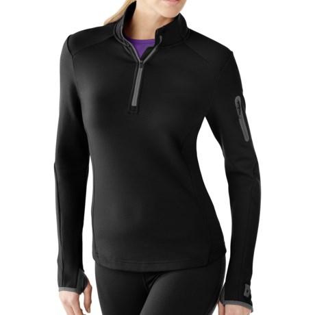 SmartWool PhD HyFi Zip Neck Base Layer Top - Merino Wool, Midweight, Long Sleeve (For Women) in Black
