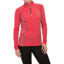 SmartWool PhD Light Printed Shirt - Merino Wool, Zip Neck, Long Sleeve (For Women) in Hibiscus - Closeouts