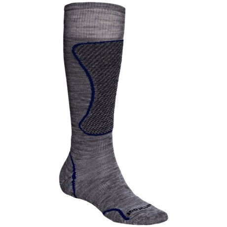 SmartWool PhD Light Ski Socks - Merino Wool, Over the Calf (For Men and Women) in Grey/Royal