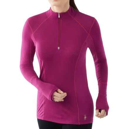 SmartWool PhD Light Zip Neck Shirt - Merino Wool, Long Sleeve (For Women) in Berry - Closeouts