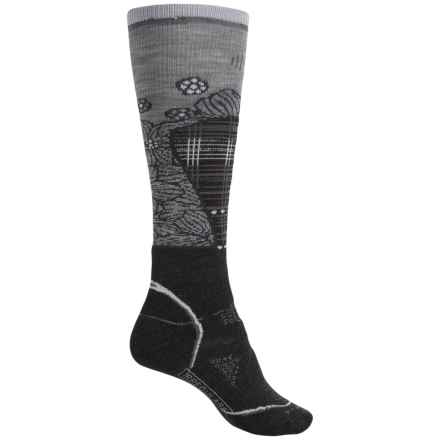 SmartWool PhD Medium Pattern Ski Socks - Merino Wool, Over the Calf (For Women) in Charcoal - 2nds