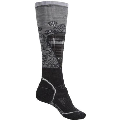 SmartWool PhD Medium Pattern Ski Socks - Merino Wool, Over the Calf (For Women) in Charcoal