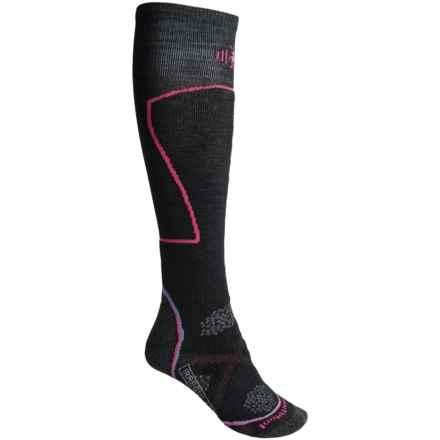 SmartWool PhD Medium Ski Socks - Merino Wool, Over the Calf (For Women) in Black - 2nds