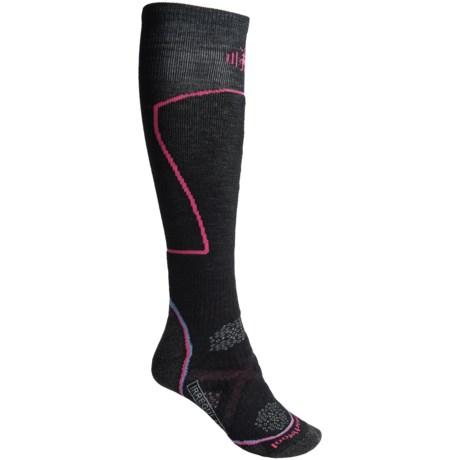 SmartWool PhD Medium Ski Socks - Merino Wool, Over the Calf (For Women) in Black